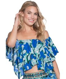 Blue off-the-shoulder floral crop top with lace-up back - COOKIECUTTER SHARK