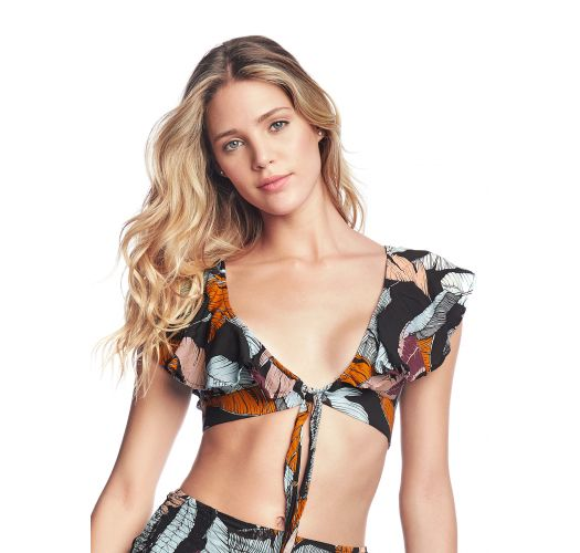 Black ruffled beach top in colorful print - SOULFUL