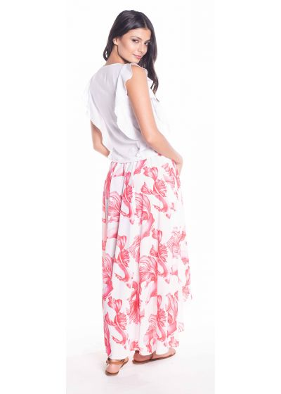 White beach top with ruffles and embroidered neckline - SALSA BLOUSE
