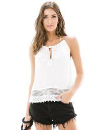White sleevless blouse with openwork - BLUSA CAVA RENDA