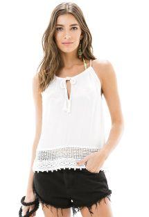Μπλούζα με λευκά μανίκια και πολυάριθμα μικρά ανοίγματα - BLUSA CAVA RENDA