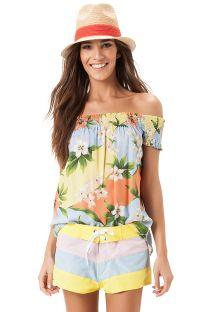 Bardot neckline smocked floral beach top - BLUSA LASTEX