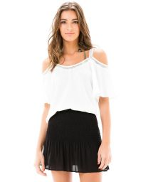 White open-shoulder top with flounce sleeves - BLUSA OMBRO VAZADO