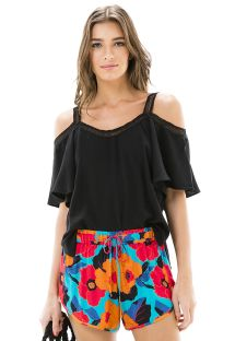 Black open-shoulder top with flounce sleeves - BLUSA OMBRO VAZADO BLACK