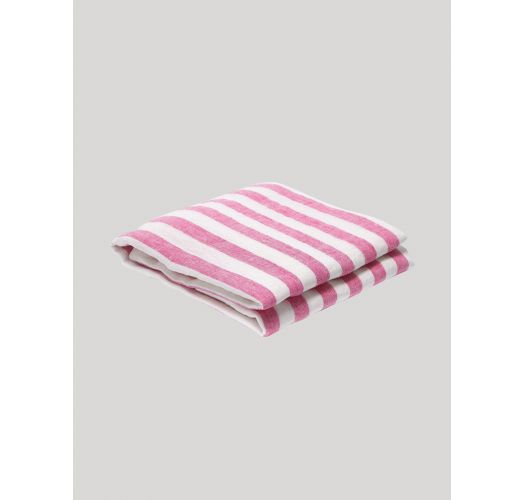 Large luxury linen towel with pink stripes - STRIPE LINEN BEACH TOWEL PINK & WHITE