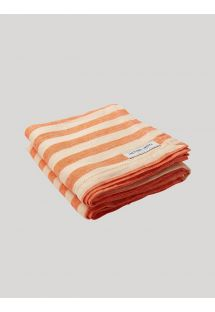 STRIPE LINEN BEACH TOWEL ORANGE & OFF WHITE
