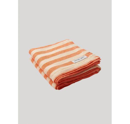 Large luxury linen towel with orange stripes - STRIPE LINEN BEACH TOWEL ORANGE & OFF WHITE