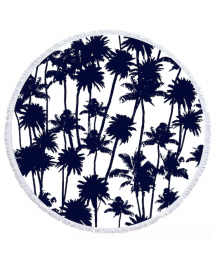 palm tree patterned round beach towel - LA PALMERAIE