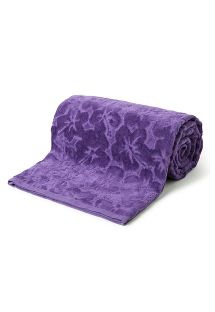 Purple beach towel with embossed pattern - TOALHA HOLIDAY ROXO