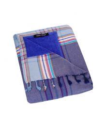 Large gray & blue reversible beach towel / sarong - KIKOY DUO BLUE HENDAYE