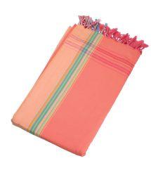 Reversible salmon/ peach beach towel - sarong - KIKOY AMAZONE
