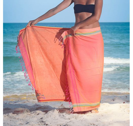 Reversible salmon/ peach beach towel - sarong - KIKOY AMAZONE