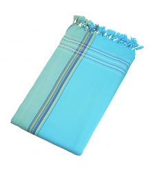 Beach towel and pareo - reversible sky blue / turquoise - KIKOY BLUE LAGOON