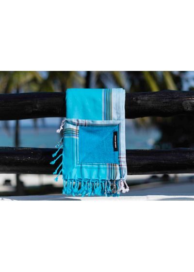 Beach towel - sky blue reversible pareo with stripes - KIKOY CAP FERRET