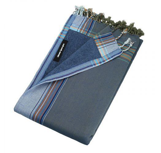 Beach towel and pareo - reversible blue / dark grey - KIKOY CUBA LIBRE