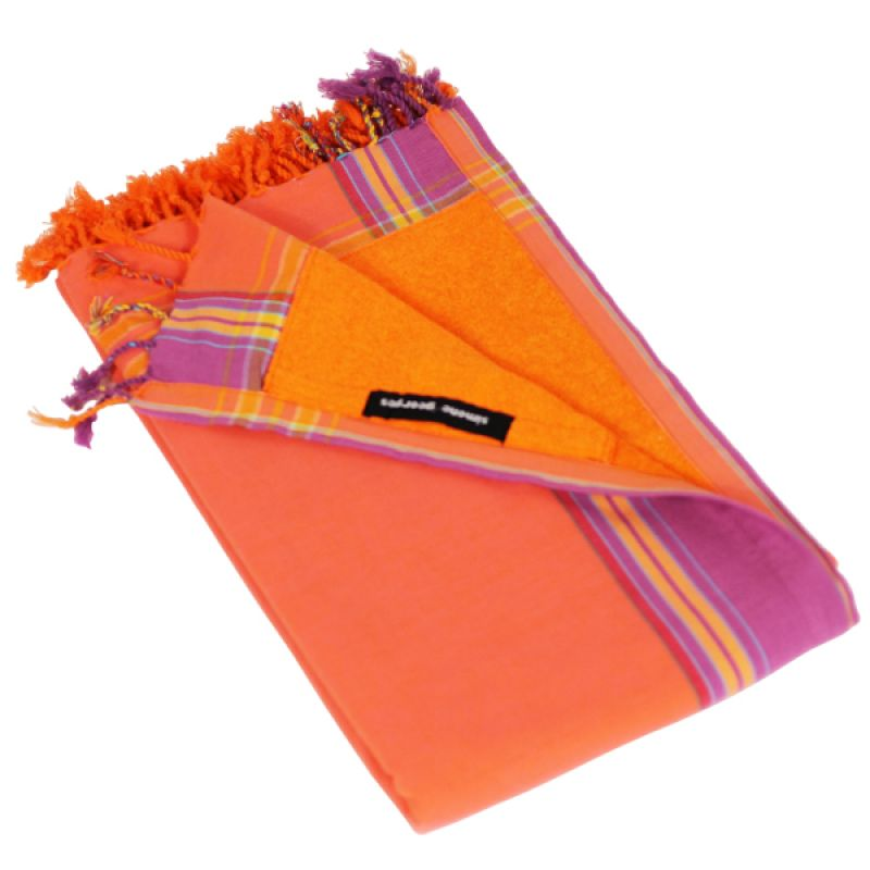 Large Reversible Pareo/Terry Duo Towel - KIKOY DUO MANGO