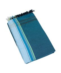 Dark blue reversible pareo and terry cloth towel - KIKOY GOA