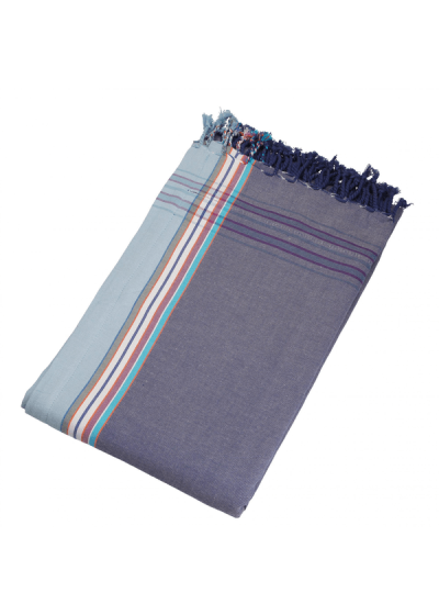 Reversible blue-grey beach towel - pareo - KIKOY HENDAYE