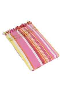 Reversible Pink Striped Beach Towel/Pareo - KIKOY JAMBO