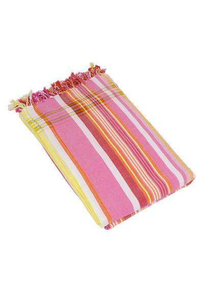Randig, vändbar strandhandduk / sarong i rosa - KIKOY JAMBO