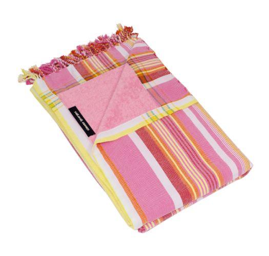 Reversible Pink Striped Beach Towel/Pareo - KIKOY JAMBO