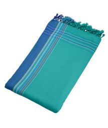 Reversible emerald green / blue beach towel - sarong - KIKOY MARTIN