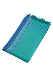 Reversible emerald green / blue beach towel - sarong - KIKOY MARTIN
