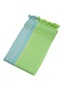 Reversible green / light blue beach towel - sarong - KIKOY MOJITO