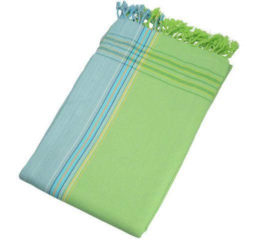 Reversible green / light blue beach towel - sarong - KIKOY MOJITO
