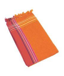 Orange reversible pareo and beach towel- KIKOY MOOREA
