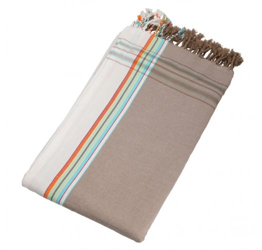 Beach towel - beige reversible pareo with stripes - KIKOY NOMAD
