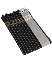 Reversible Grey and Black Beach Towel/Pareo - KIKOY PRETO