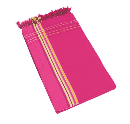 Dark pink reversible pareo and terry cloth towel - KIKOY SANTA MONICA
