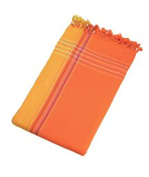 Beach towel and pareo - reversible orange / saffron - KIKOY SPRITZ