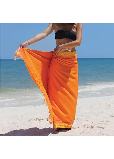 Beach towel and pareo - reversible orange / saffron - KIKOY SPRITZ