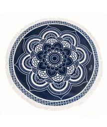 Round Navy Blue Lotus Beach Towel - LOTUS AZUL