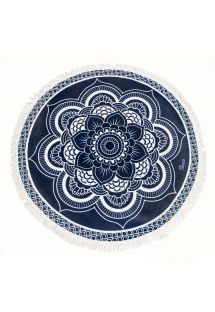 Round Navy Blue Lotus Beach Towel - LOTUS AZUL