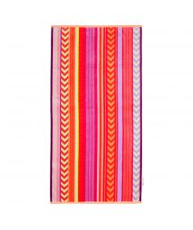 Pink striped velvet-feel beach towel - BALANDRA