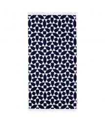 Navy ble & white geometric beach towel 100% cotton - LUXE TOWEL ANDAMAN