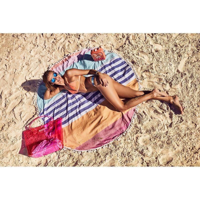 Rund handduk med färgglada ränder - ROUND FOUTA CATALINA