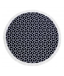 Navy blue & white round beach towel - ROUND TOWEL ANDAMAN
