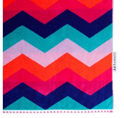Zigzag-mönstrad strandhandduk med sammetskänsla - WATEGOS