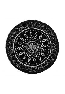 Black, reversible, round beach towel - DREAM TIME