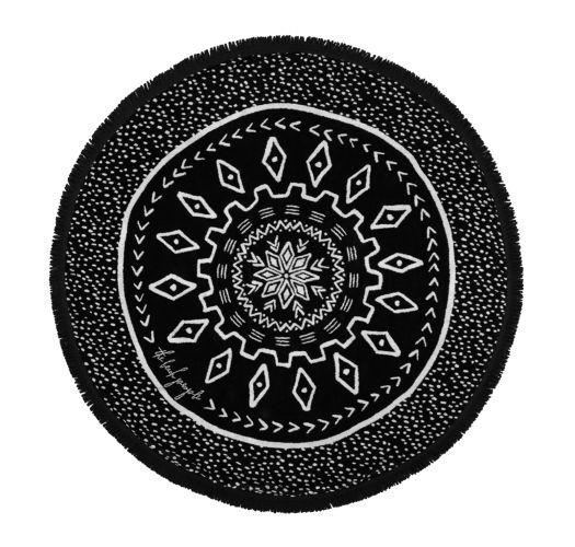 Serviette de plage ronde noire réversible - DREAM TIME