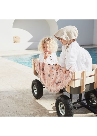 Rosa rund strandhandduk för tjejer - LITTLE BOTANICAL