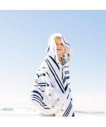 Child&#39s poncho shaped round beach towel - LITTLE NAUTIC PONCHO