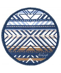 Round, fringed, tribal print beach towel - LORNE