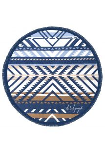 Round, fringed, tribal print beach towel - LORNE