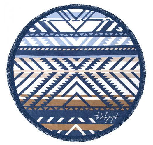 Okrągły ręcznik plażowy, motyw etniczny, frędzelki - LORNE
