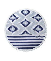 Round, blue print beach towel - MONTAUK CHIC